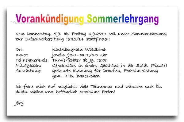 Vorankündigung Sommerlehrgang 2013