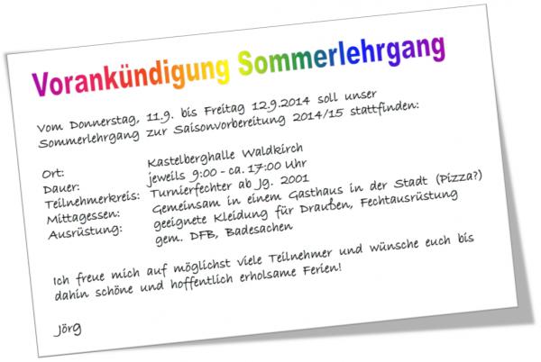 Vorankündigung Sommerlehrgang 2014