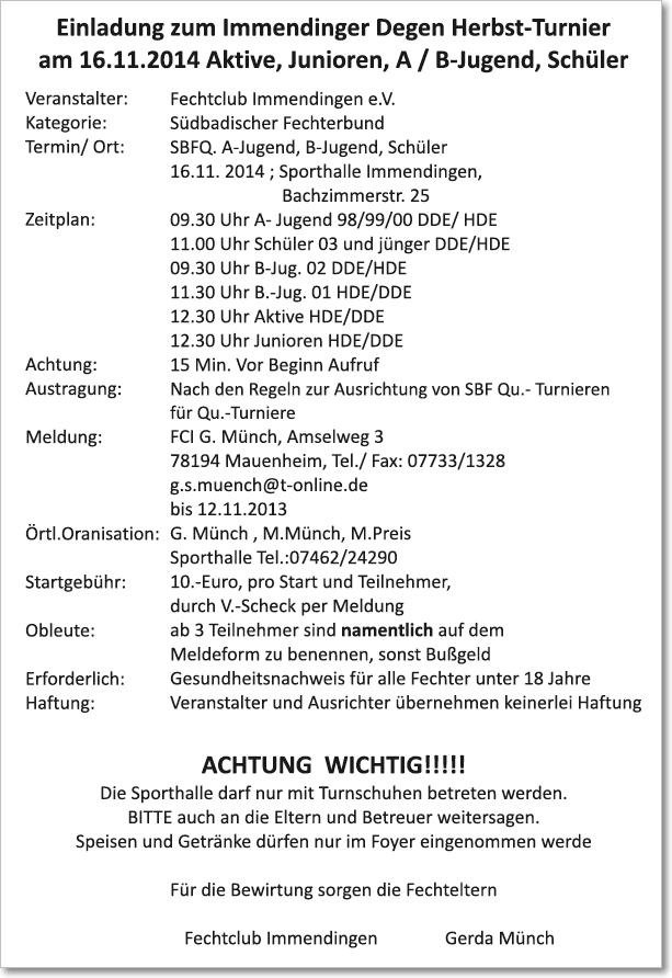 Ausschreibung Degen-Herbst-Turnier 2014 in Immendingen