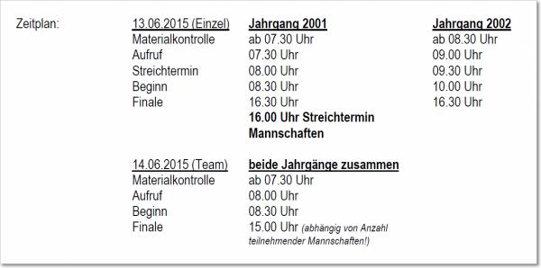 Zeitplan der DM B-Jugend Herrendegen am 13.-14. Juni 2015 in Waldkirch